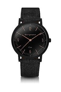 Original-Bergmann-Cor-Uhr-schwarz-schwarzes-Wildlederband-schwarzes-Gehaeuse
