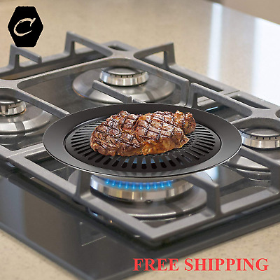 Smokeless Stove Top Grill Indoor Grilling Non Stick Barbeque Electric Gas Cook