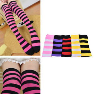 Women-Stripe-Stripy-Striped-Over-The-Knee-Thigh-High-Stockings-Long-Sock-M-amp-C