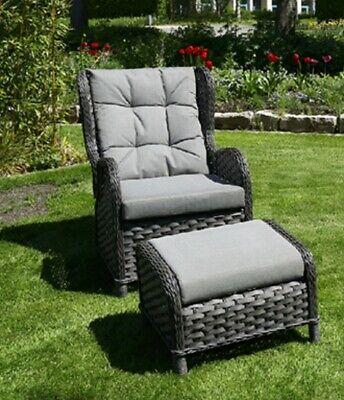 Garten Rattansessel Gartensofa Sessel Outdoor Relaxsessel Grau Mit Ottomane Ebay