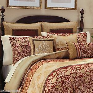 Croscill Renaissance King Comforter 4 Piece Set New Red