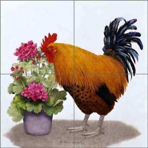 Rooster-Tile-Backsplash-Matcham-Country-Life-Art-Ceramic-Mural-RW-MM011
