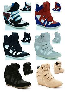 Femmes-Cache-Compense-Baskets-Montantes-Tennis-Cheville-Bottes-Chaussures-Taille