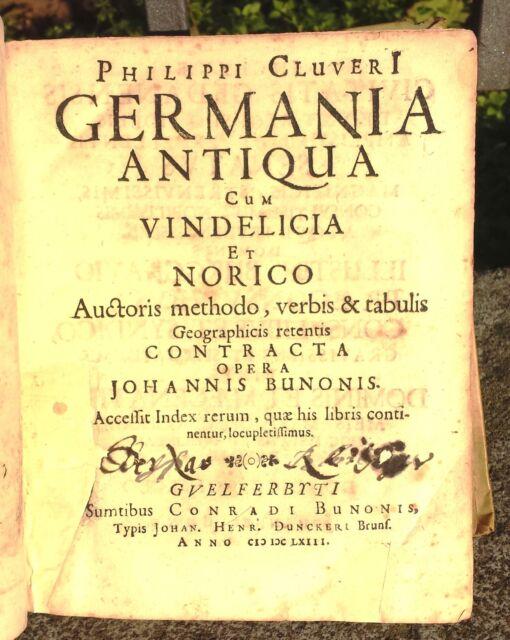 1663 GERMANIA ANTIQUA CUM VINDELICA ET NORICO P. CLUVERI 10 CARTE GEOGRAFICHE