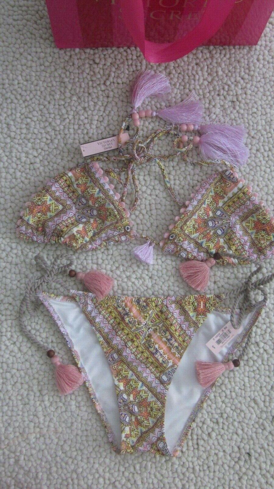 Victoria's Secret Triangle Pink Paisley Tassel Tie Bikini Small 32B 32C 34A 34B