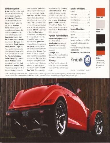 2000 00 Plymouth Prowler original Sales brochure MINT