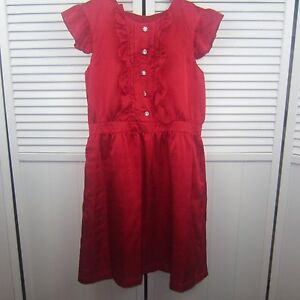 6510cc7e8f7 KC Parker Hartstrings Girls Red Holiday Dress Textured Ruffle Gem Buttons  Sz 16