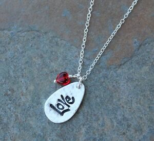 Love necklace- handmade fine silver charm, sterling silver chain and red heart