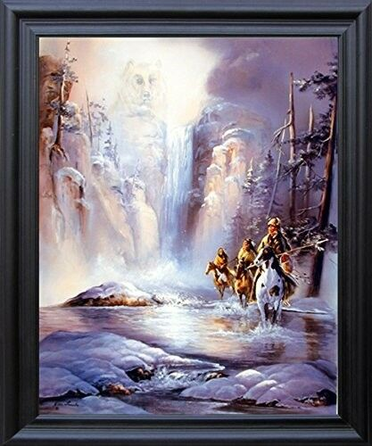 Indian Spirit of Strength Native American Wall Decor Black Framed Picture 19x23