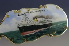 RARE STERLING SILVER ENAMEL RMS ROYAL GEORGE SHIPPING SPOON ANTIQUE 1911 CUNARD