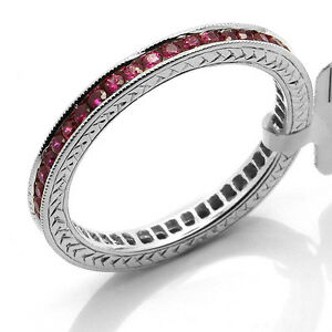 14K-WHITE-GOLD-RUBY-MILGRAIN-ETERNITY-WEDDING-BAND-STACKABLE-STACK-RING-5-6-7-8