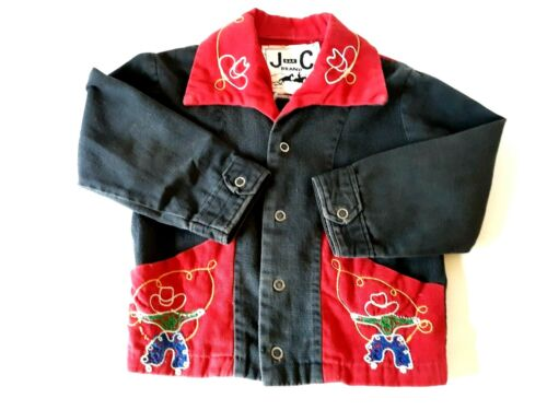 Boys Western Cowboy Shirt Embroidered Size 4 1950'