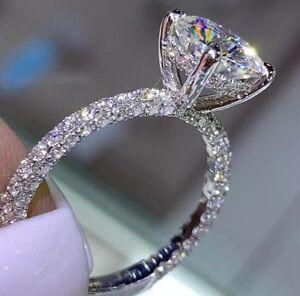 b5cbb04a4 2 CT diamond halo pave D VVS1 engagement wedding ring 14k white gold ...