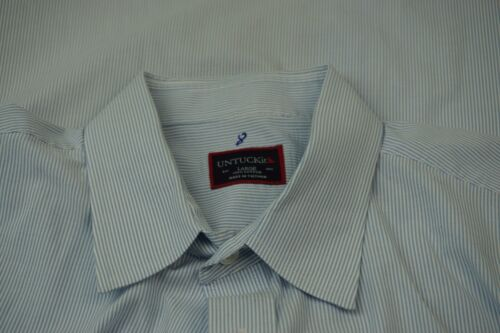 UNTUCKit White Baby Blue Striped 100% Cotton Mens