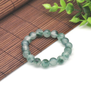 10mm-100-Natural-Green-Jade-Jadeite-Round-Gemstone-Beads-Bracelet-7-5-039-039-New