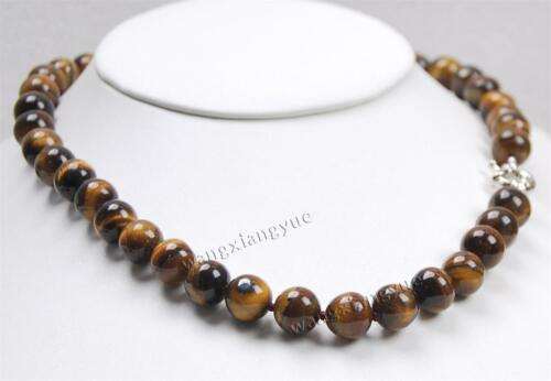 """Natural 10MM tiger/'s-eye Gems Round Beads Necklace 18/"""" Crystal Healing//Chatoyant"""