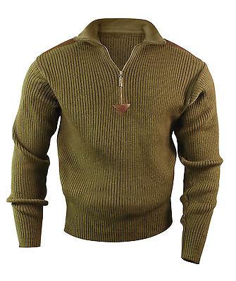 Quarter Zip Commando Sweater 100% Comfortable Acrylic w/ Leather Accent S-3XL