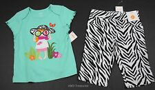 Gymboree Wild for Zebra Capri Pants Green Shirt Set Outfit 2T NWT Girls