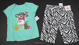 Gymboree-Wild-for-Zebra-Capri-Pants-Green-Shirt-Set-Outfit-2T-NWT-Girls