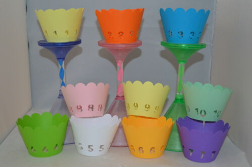 NUMBERS AGE  BIRTHDAY THEME CUPCAKE WRAPPERS x 12  ANY AGE//NUMBER  GREAT VALUE