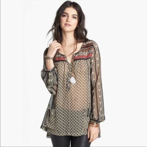 Free People Feather In The Wind Tunic Shirt Top Bl