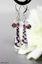 Glass Jewels Silber Ohrringe Ohrhänger Tropfen Lampwork Filigran Violett #L087
