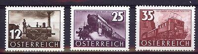 Unificato 503/505 Mnh ** 1937 Austria Österreich 100 Anni Ferrovie Serie 3 V Stamps