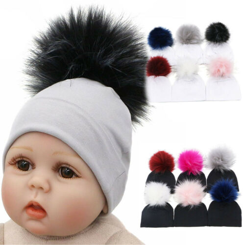 Faux Raccoon Pompom Winter Warm  Fur Ball Caps Baby Cotton Hat  Newborn Beanie