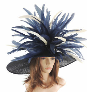 Navy-amp-Cream-Large-Ascot-Hat-for-Weddings-Ascot-Derby-HC1