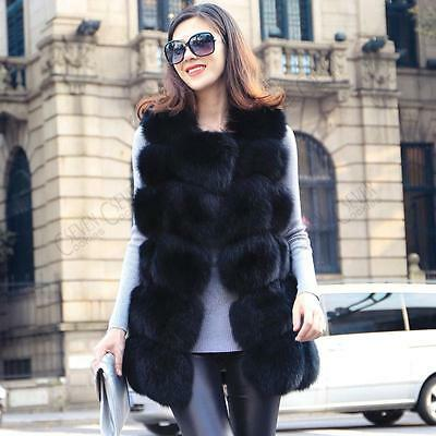 UK Womens Ladies Faux Fur Gilet Vest Waistcoat Sleeveless Jacket Long Shrug Coat