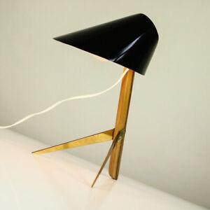 J-T-Kalmar-Billy-Tisch-Leuchte-Messing-amp-Holz-Kraehenfuss-Lese-Lampe-Vintage-50er