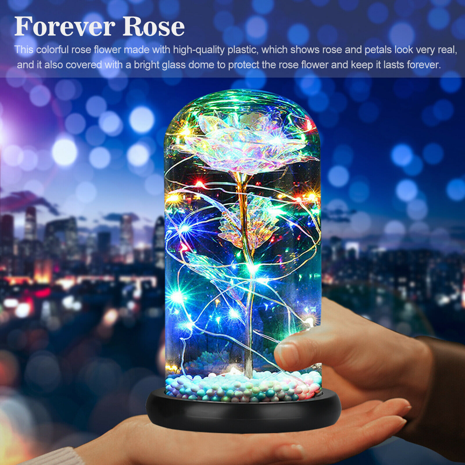 Galaxy Rose Flower In Dome Glass LED Night Light Valentine/'s Day Xmas Decor Gift