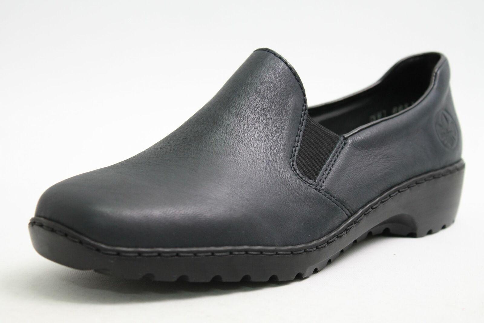 Rieker Schuhe blau echt Leder Slipper Variobündchen Damen