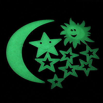 Salable Moon Sun Glow In The Dark Luminous Fluorescent Home Wall Stickers Decal