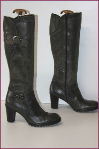 40 Be Reqins Dark Leather Heels Lined T Grey Boots ZqwqpCx0R