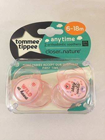 Tommee Tippee 433355 Closer To Nature Anytime Soothers Girl 6-18m x2