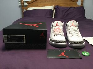 more photos 20800 15de9 Image is loading Air-jordan-3-white-cement-2011-Size-12