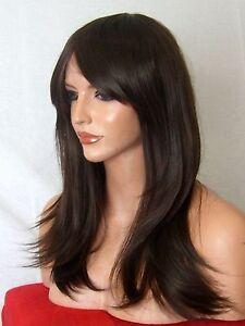 Medium-Brown-Fashion-costume-real-natural-full-wavy-straight-wig-Womens-Lady-L4