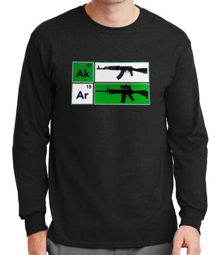 AK47 AR15 Riffle Mens Long Sleeve Tshirt NRA Cool Gun Defense Tee 1526C