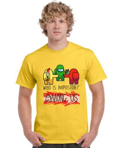 Who Is Impostor Among Us Kids T-Shirt Tee Top Girls Boys Gaming Gamer