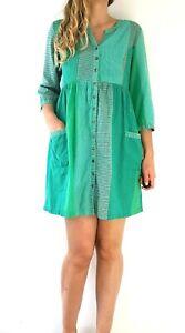 Anokhi-Tunic-Smock-Shirt-Dress-Green-Pockets-Striped-Button-Indian-Cotton-Medium