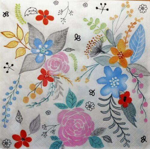 4 X Solo Papel Servilletas Flores Para Decoupage Y Manualidades 117