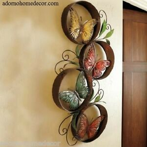 Patio Wall Decor metal round butterfly wall decor art garden unique indoor outdoor