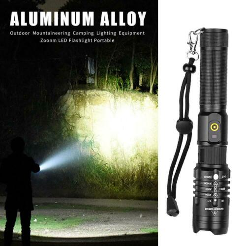 Aluminum Alloy LED Flashlight Telescopic Zoom Torch Outdoor Cycling Safety Lamp