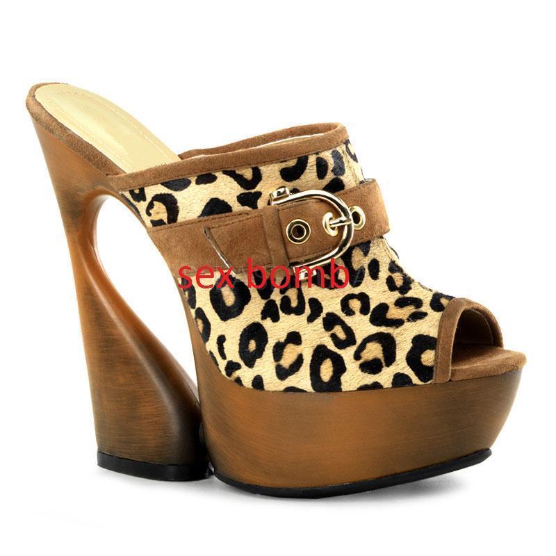 SEXY sabot sandali pelle naturali leopard plateau plateau plateau tacco 15 DAL 34 AL 38 GLAMOUR  nuevo sádico