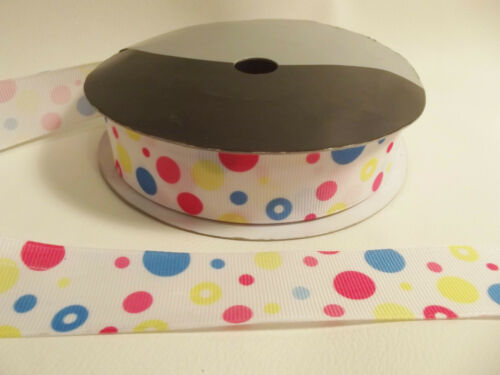 3m x 20mm Grosgrain Ribbon BNGGR03 White with Multi-coloured Bubbles//Spots