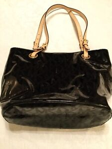 79e1617cd9ed Image is loading MICHAEL-Michael-Kors-Embossed-Black-Patent-Leather-Brown-