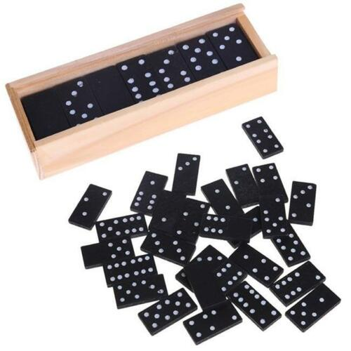 28 Pcs Dominoes Game Set Wooden Case Box Toy Kids Board Traditional Game KV