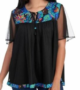 LIFE-STYLE-WOMAN-Tunic-Blouse-Plus-Size-Embroidered-Mesh-Top-Black-NWT-58