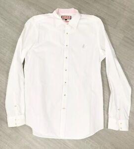 Thomas-Pink-Blanco-camisa-de-mangas-largas-informal-tamano-mediano-collar-carrera